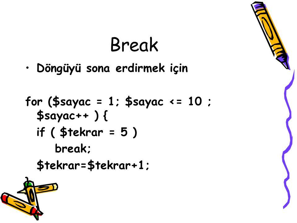 Break Döngüyü sona erdirmek için