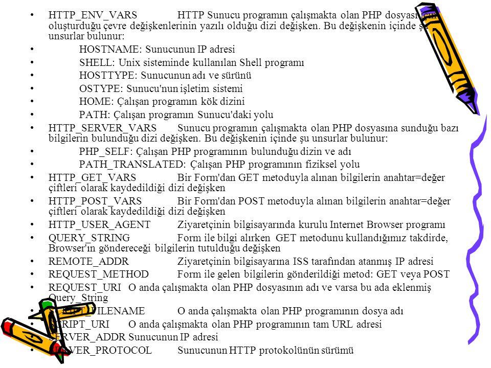 HTTP_ENV_VARS HTTP Sunucu programın çalışmakta olan PHP dosyası için oluşturduğu çevre değişkenlerinin yazılı olduğu dizi değişken. Bu değişkenin içinde şu unsurlar bulunur: