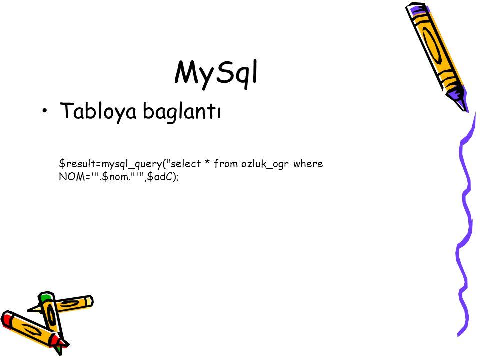 MySql Tabloya baglantı