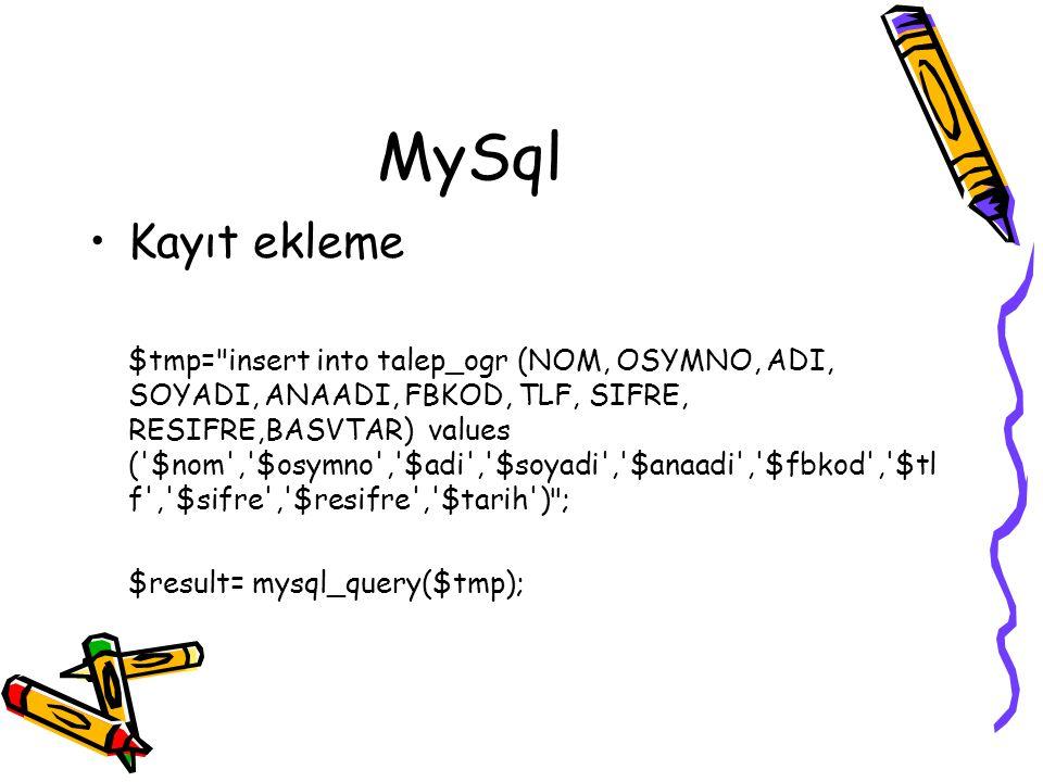 MySql Kayıt ekleme.