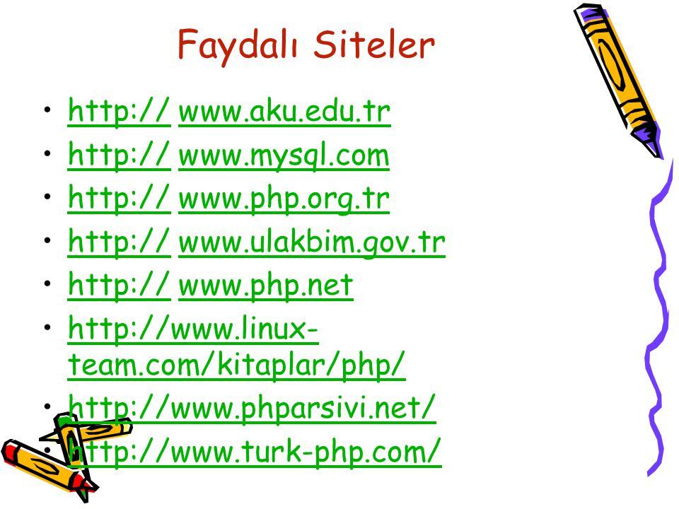 Faydalı Siteler http:// www.aku.edu.tr http:// www.mysql.com