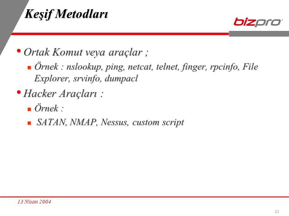 Keşif Metodları Ortak Komut veya araçlar ; Hacker Araçları :