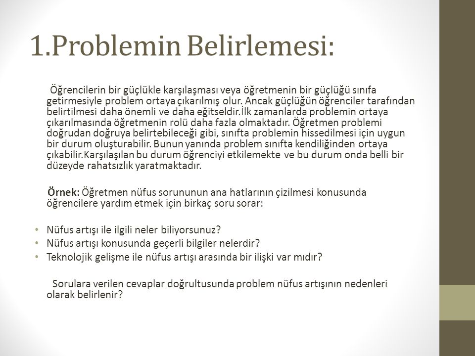 1.Problemin Belirlemesi: