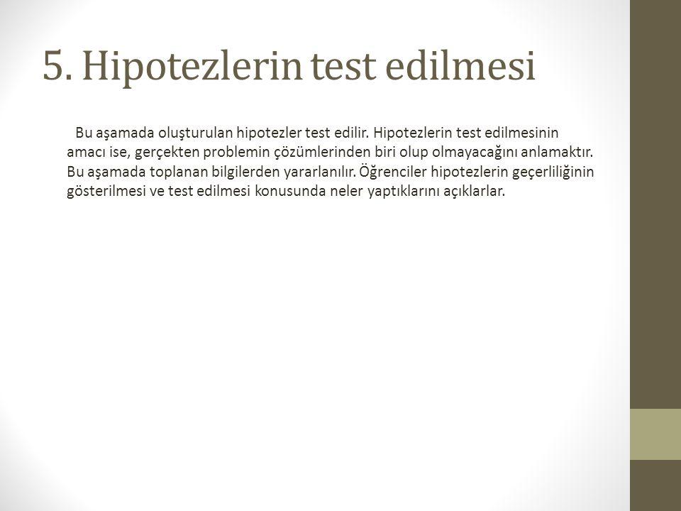 5. Hipotezlerin test edilmesi