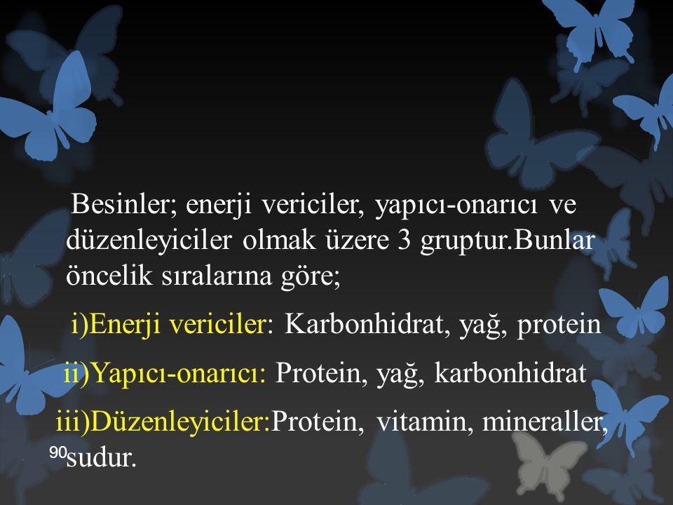 Besinler; enerji vericiler, yapıcı-onarıcı ve düzenleyiciler olmak üzere 3 gruptur.Bunlar öncelik sıralarına göre; i)Enerji vericiler: Karbonhidrat, yağ, protein ii)Yapıcı-onarıcı: Protein, yağ, karbonhidrat iii)Düzenleyiciler:Protein, vitamin, mineraller, sudur.