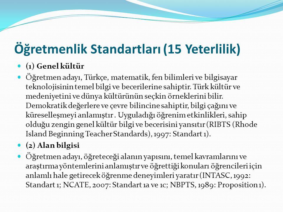 Öğretmenlik Standartları (15 Yeterlilik)