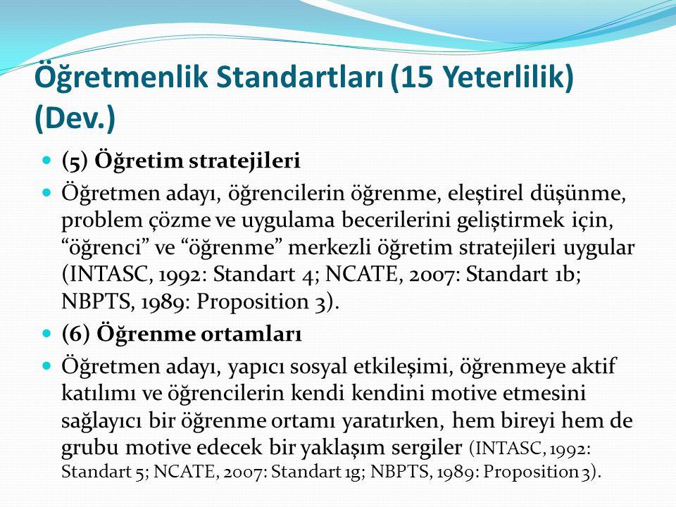 Öğretmenlik Standartları (15 Yeterlilik) (Dev.)