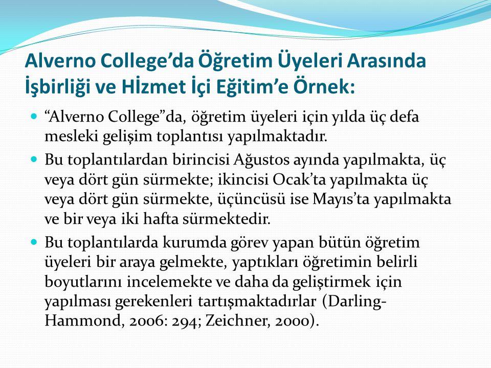 Alverno College'da Öğretim Üyeleri Arasında İşbirliği ve Hİzmet İçi Eğitim'e Örnek: