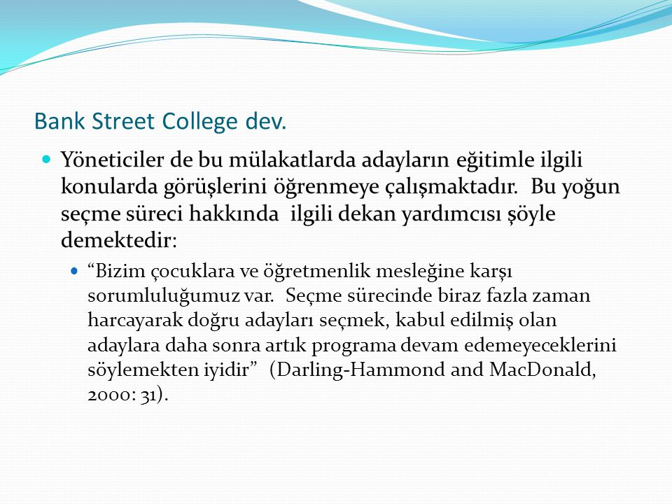 Bank Street College dev.