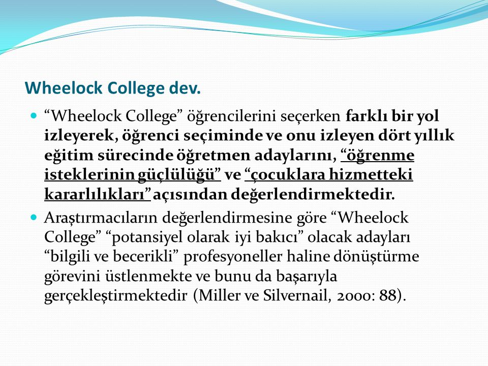 Wheelock College dev.