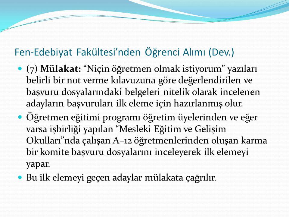 Fen-Edebiyat Fakültesi'nden Öğrenci Alımı (Dev.)