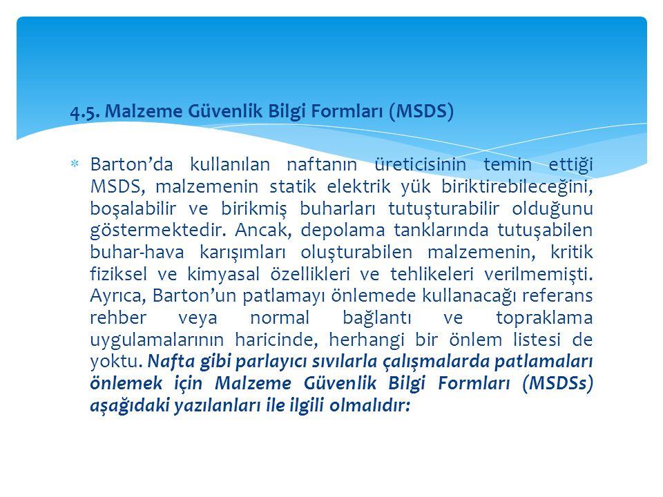 4.5. Malzeme Güvenlik Bilgi Formları (MSDS)