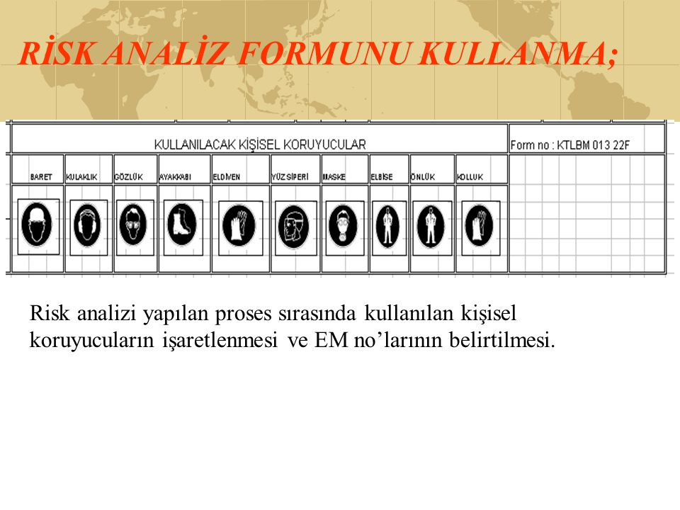RİSK ANALİZ FORMUNU KULLANMA;