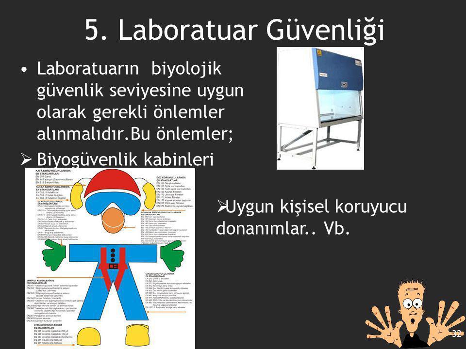 5. Laboratuar Güvenliği Laboratuarın biyolojik güvenlik seviyesine uygun olarak gerekli önlemler alınmalıdır.Bu önlemler;