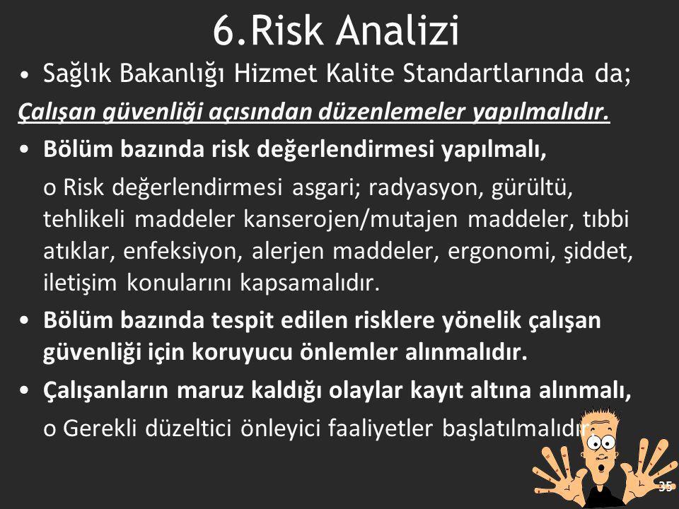 6.Risk Analizi Sağlık Bakanlığı Hizmet Kalite Standartlarında da;