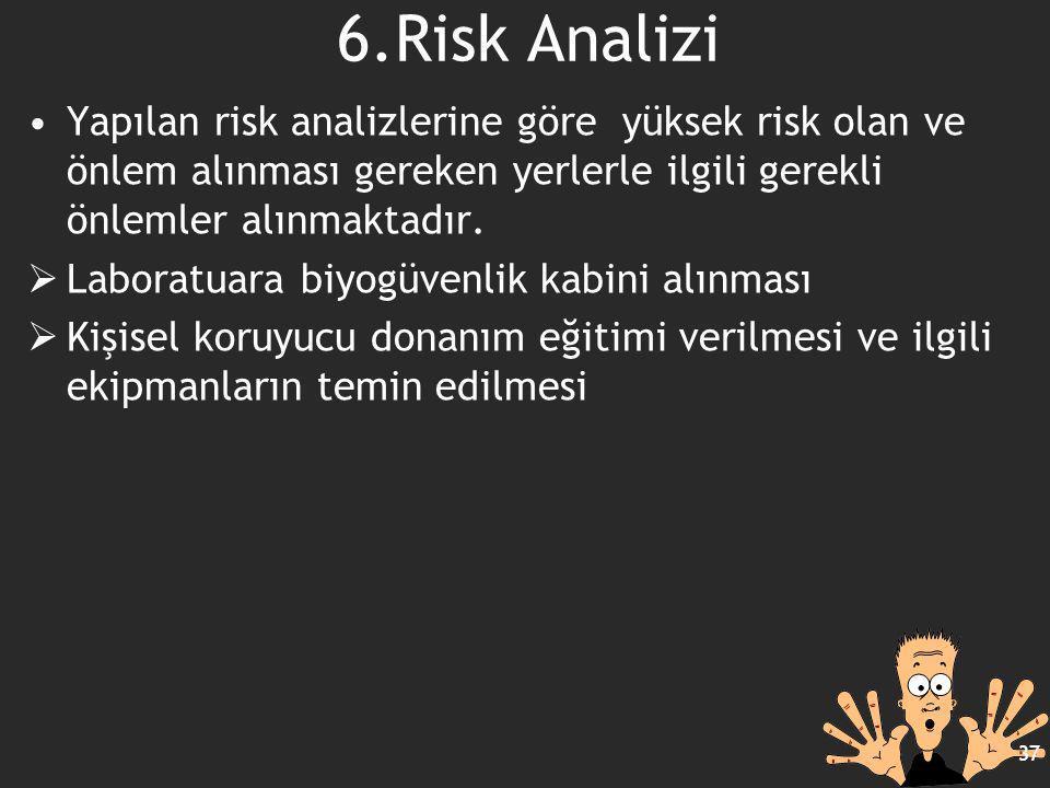 6.Risk Analizi Yapılan risk analizlerine göre yüksek risk olan ve önlem alınması gereken yerlerle ilgili gerekli önlemler alınmaktadır.