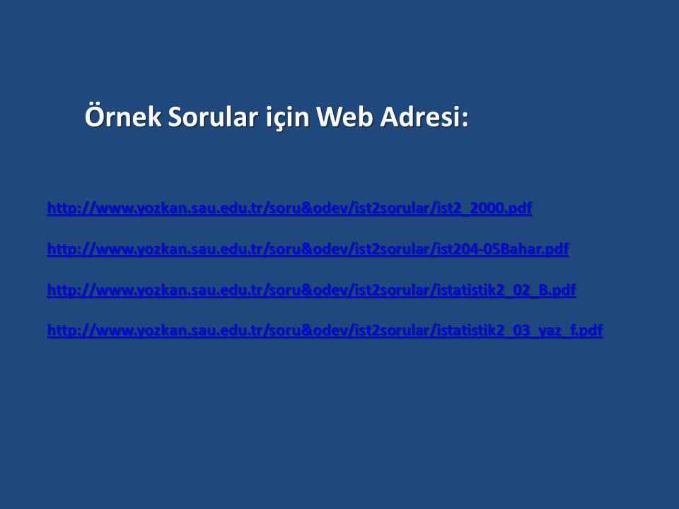 Örnek Sorular için Web Adresi: