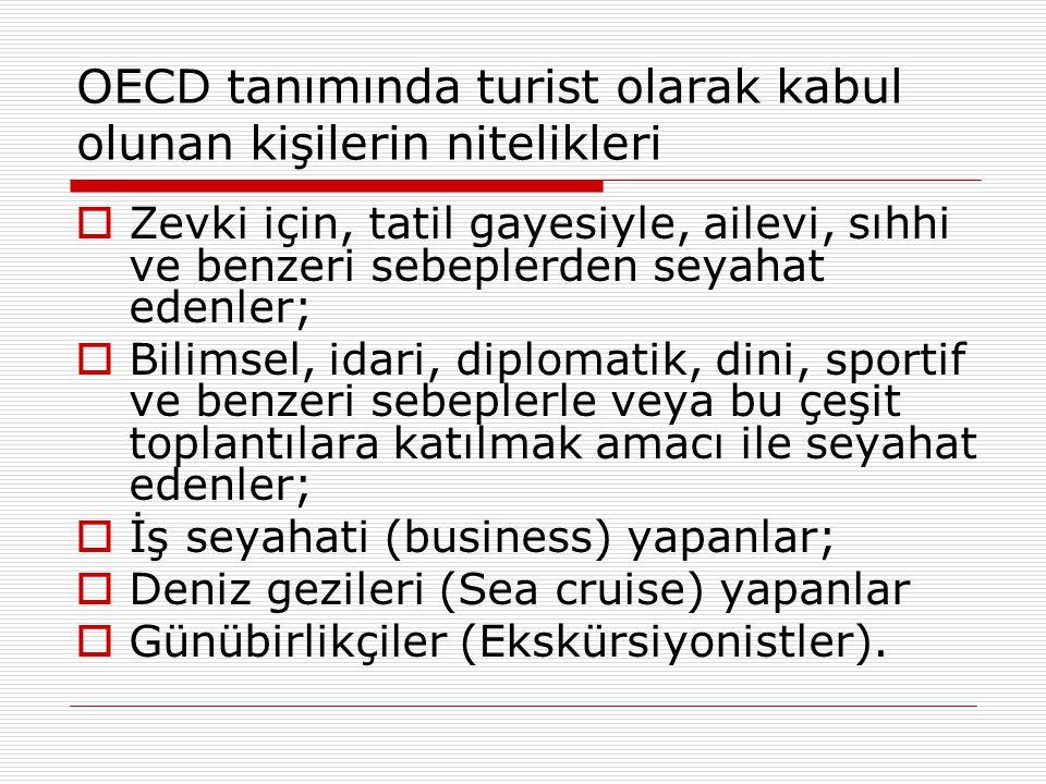 OECD tanımında turist olarak kabul olunan kişilerin nitelikleri