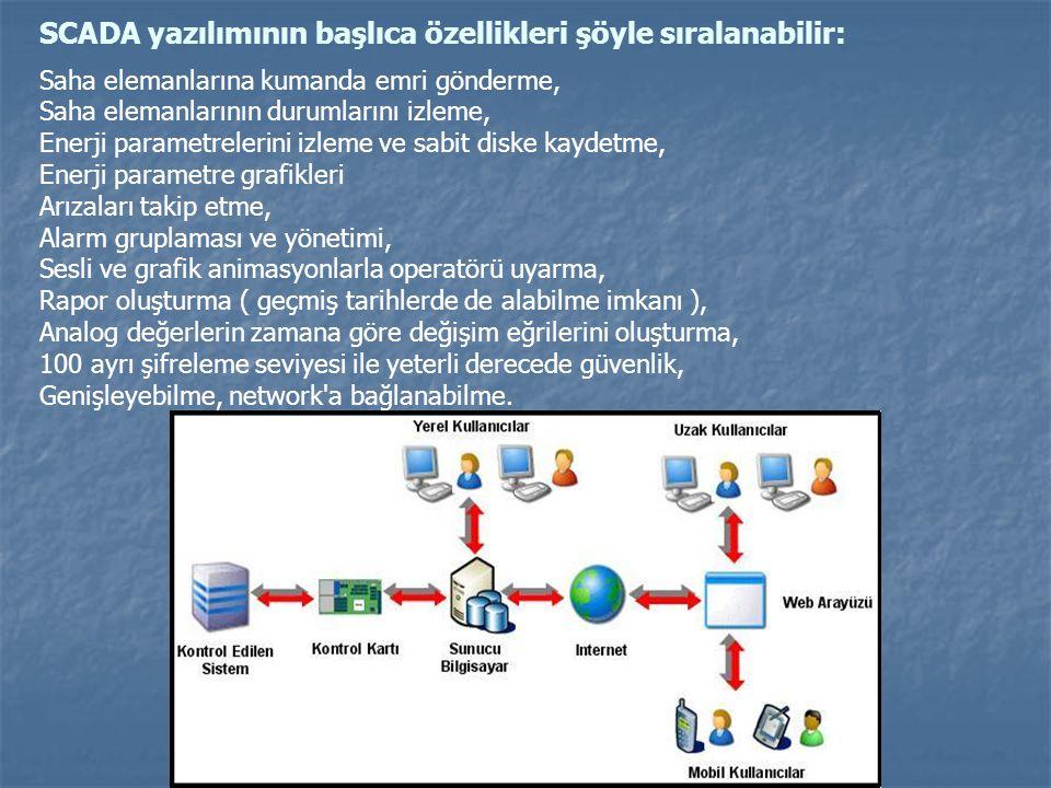 SCADA yazılımının başlıca özellikleri şöyle sıralanabilir: