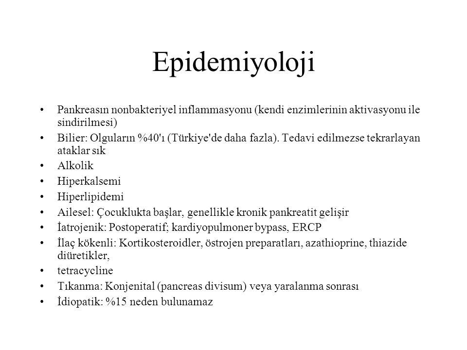 Epidemiyoloji Pankreasın nonbakteriyel inflammasyonu (kendi enzimlerinin aktivasyonu ile sindirilmesi)