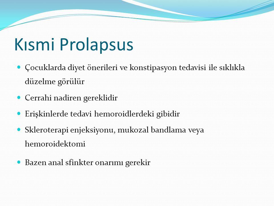 Kısmi Prolapsus Çocuklarda diyet önerileri ve konstipasyon tedavisi ile sıklıkla düzelme görülür. Cerrahi nadiren gereklidir.