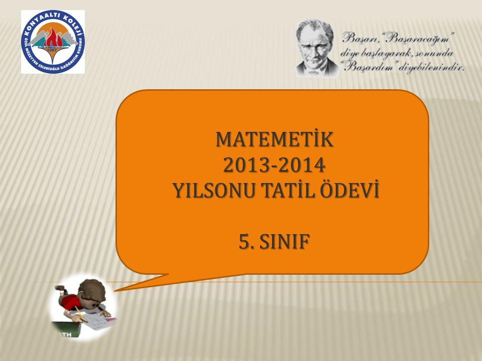 MATEMETİK 2013-2014 YILSONU TATİL ÖDEVİ 5. SINIF