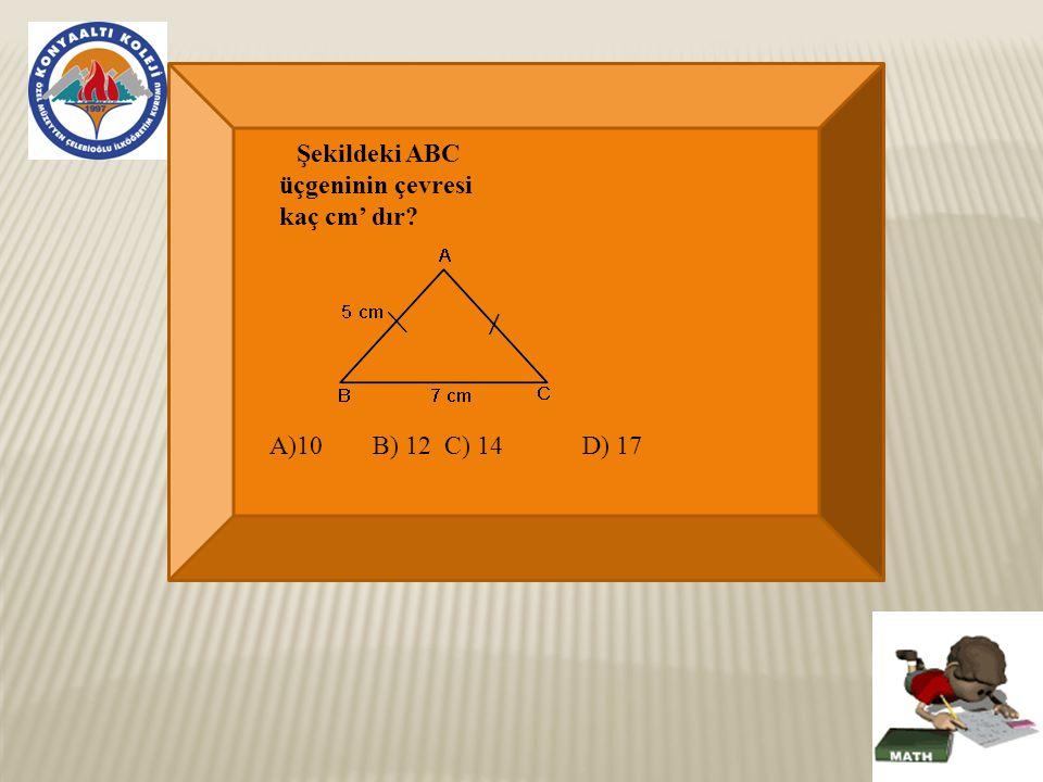 Şekildeki ABC üçgeninin çevresi kaç cm' dır