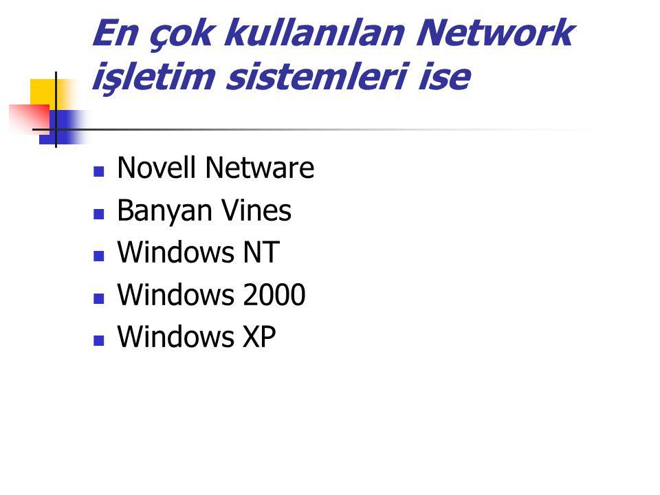 En çok kullanılan Network işletim sistemleri ise