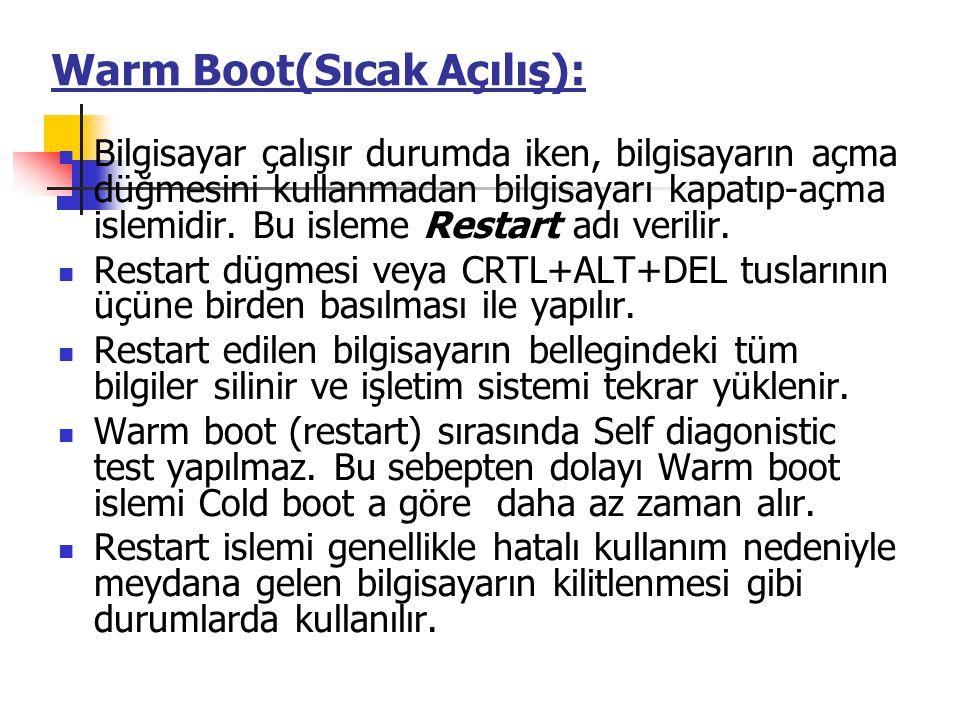 Warm Boot(Sıcak Açılış):