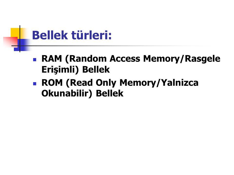 Bellek türleri: RAM (Random Access Memory/Rasgele Erişimli) Bellek
