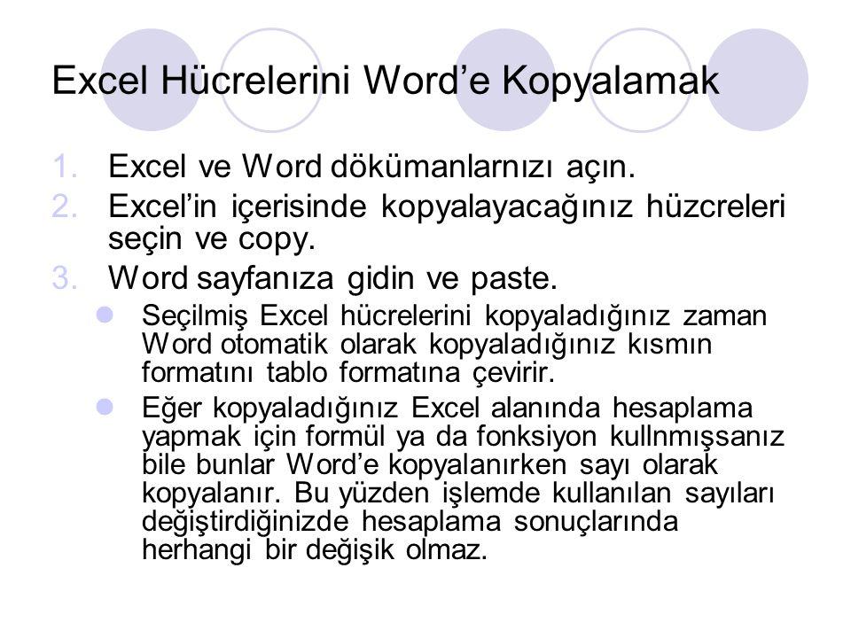 Excel Hücrelerini Word'e Kopyalamak