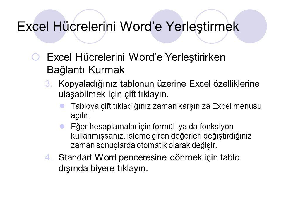 Excel Hücrelerini Word'e Yerleştirmek