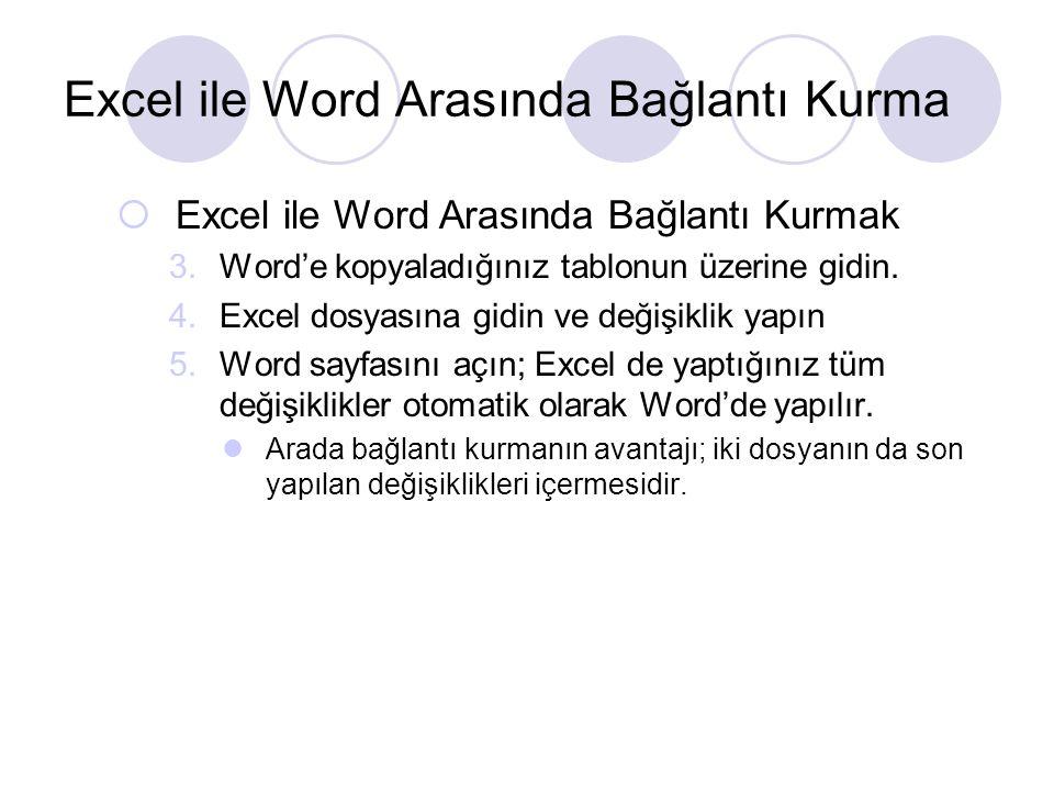 Excel ile Word Arasında Bağlantı Kurma