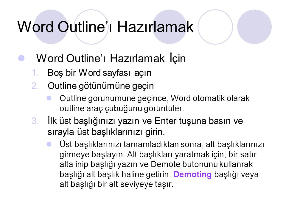 Word Outline'ı Hazırlamak