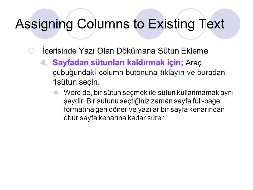 Assigning Columns to Existing Text