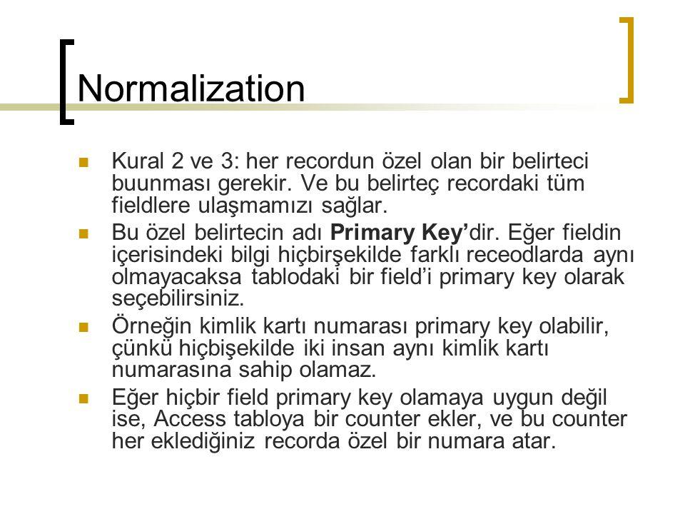 Normalization Kural 2 ve 3: her recordun özel olan bir belirteci buunması gerekir. Ve bu belirteç recordaki tüm fieldlere ulaşmamızı sağlar.