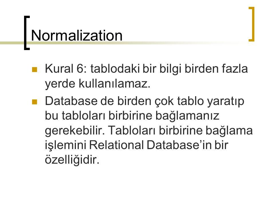Normalization Kural 6: tablodaki bir bilgi birden fazla yerde kullanılamaz.