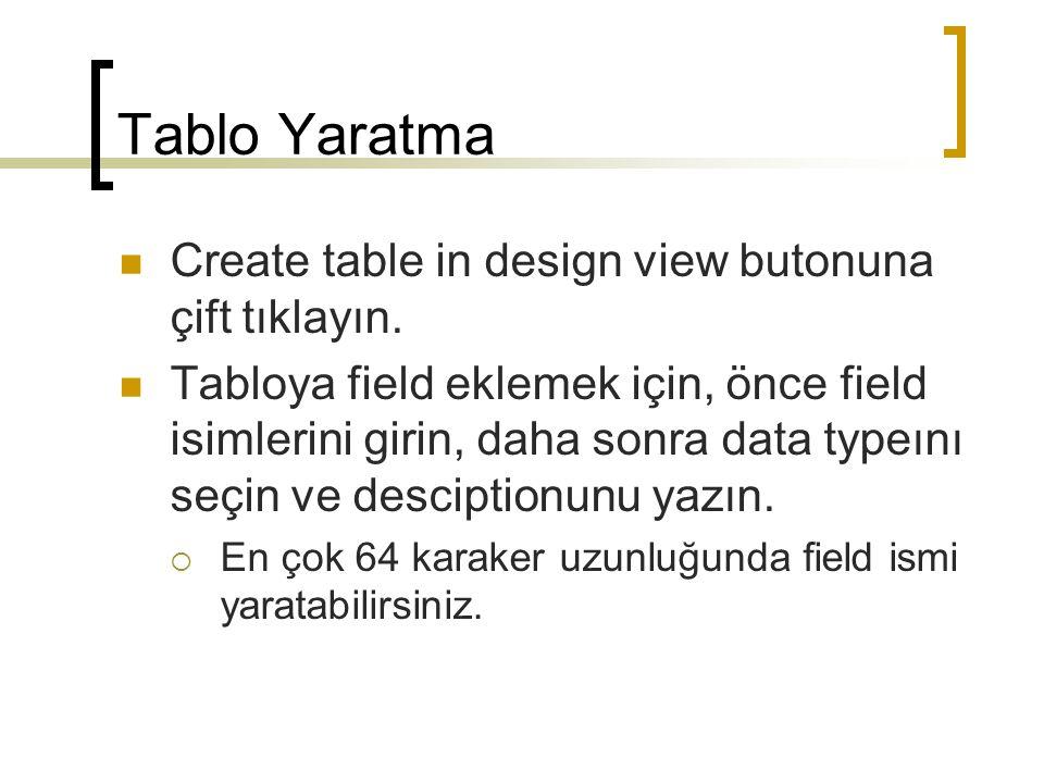 Tablo Yaratma Create table in design view butonuna çift tıklayın.