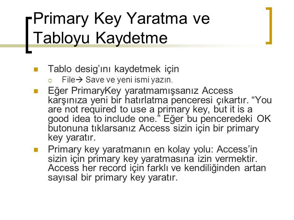 Primary Key Yaratma ve Tabloyu Kaydetme