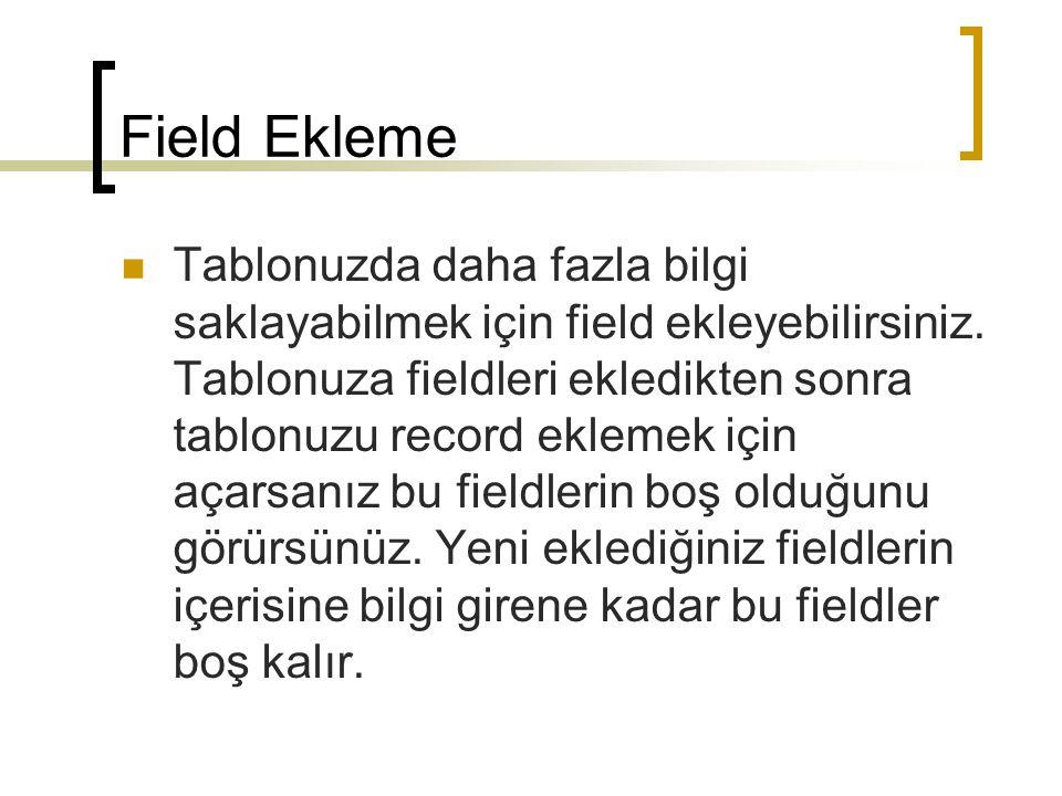 Field Ekleme