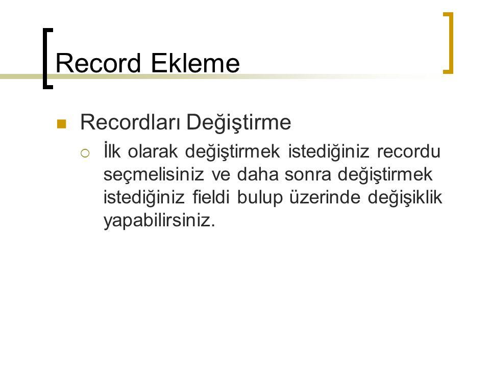 Record Ekleme Recordları Değiştirme