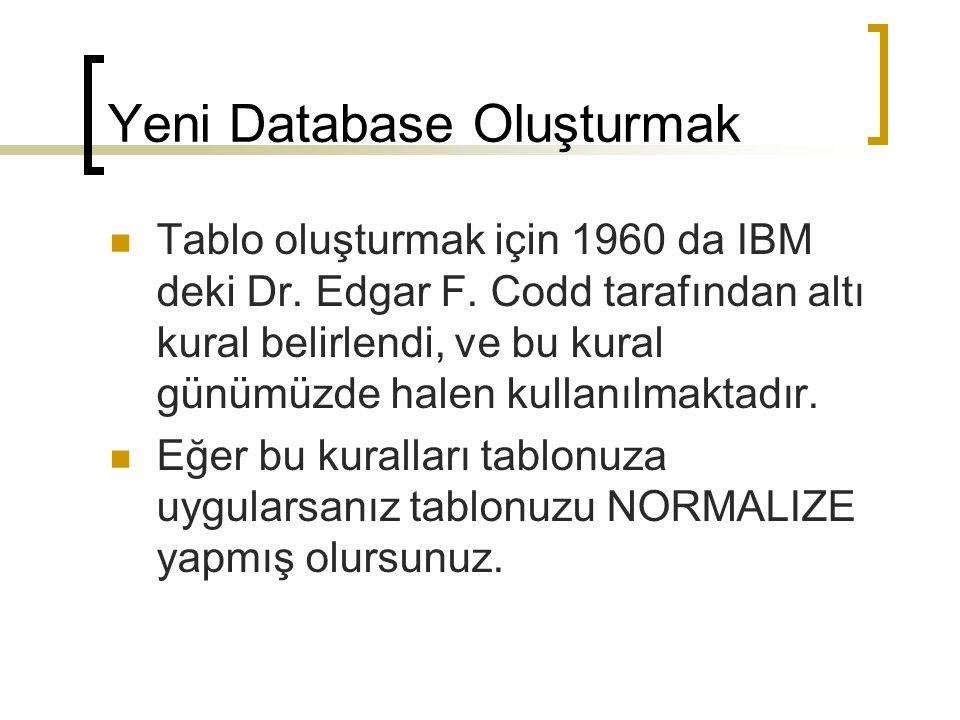 Yeni Database Oluşturmak