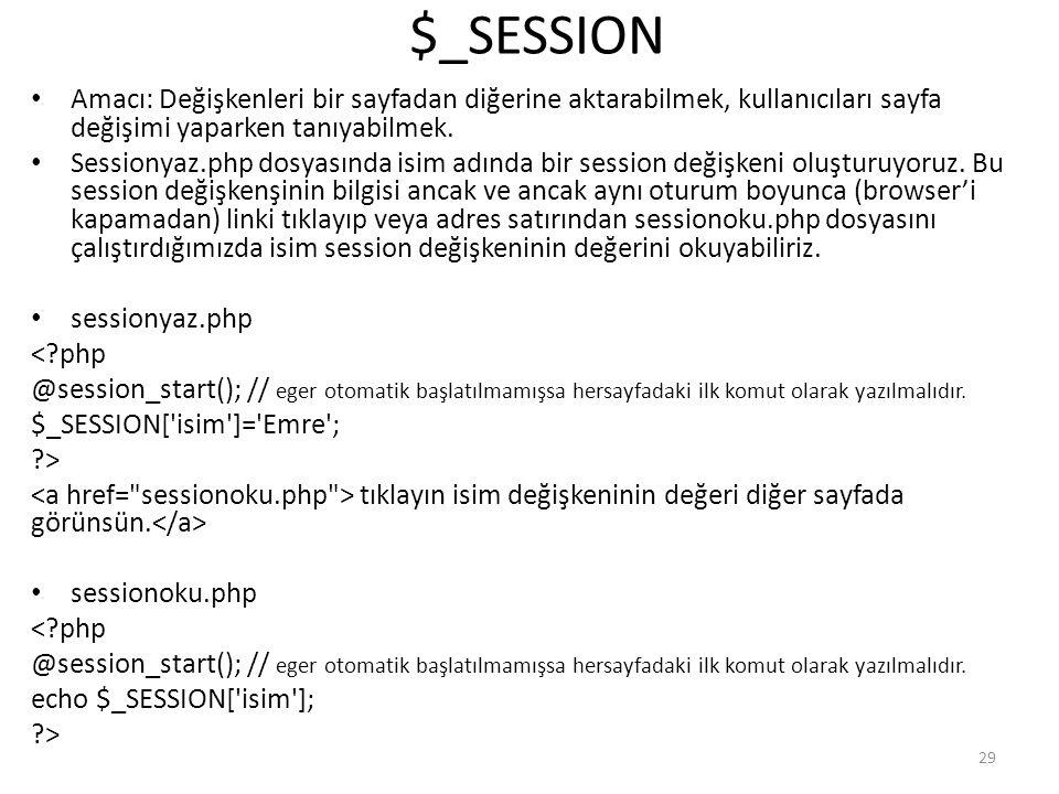 $_SESSION Amacı: Değişkenleri bir sayfadan diğerine aktarabilmek, kullanıcıları sayfa değişimi yaparken tanıyabilmek.