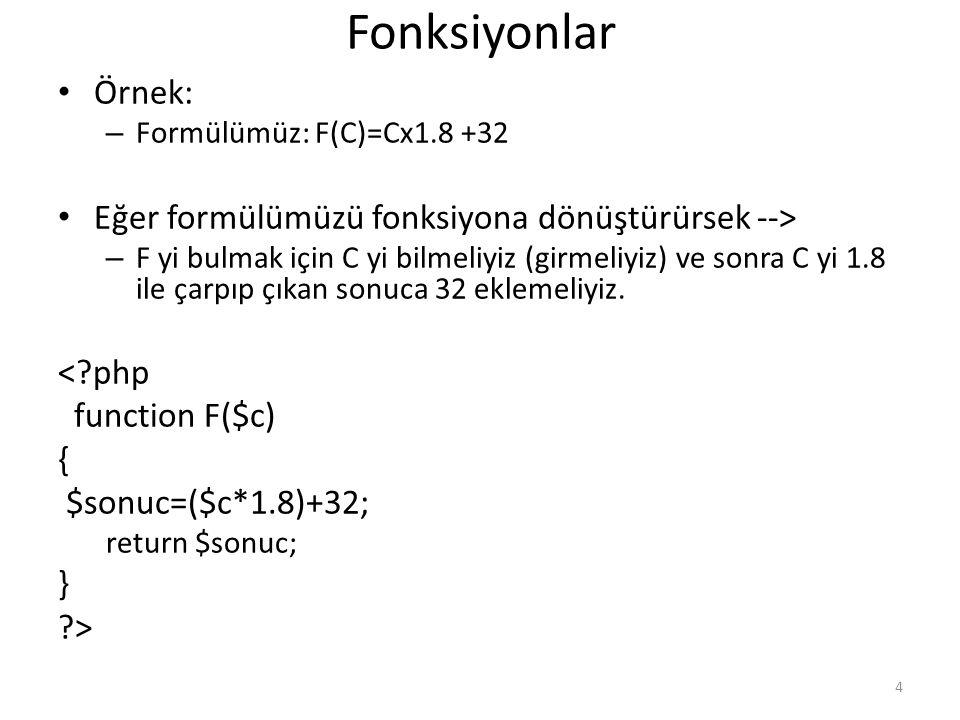 Fonksiyonlar Örnek: Eğer formülümüzü fonksiyona dönüştürürsek -->