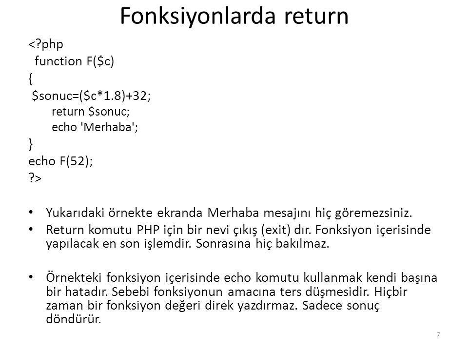 Fonksiyonlarda return