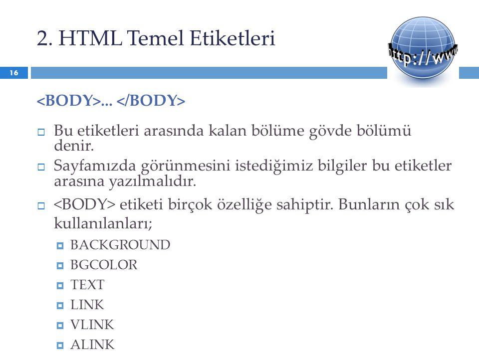 2. HTML Temel Etiketleri <BODY>... </BODY>