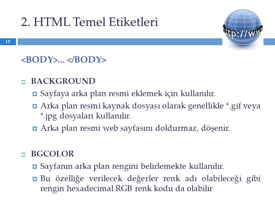 2. HTML Temel Etiketleri <BODY>... </BODY> BACKGROUND