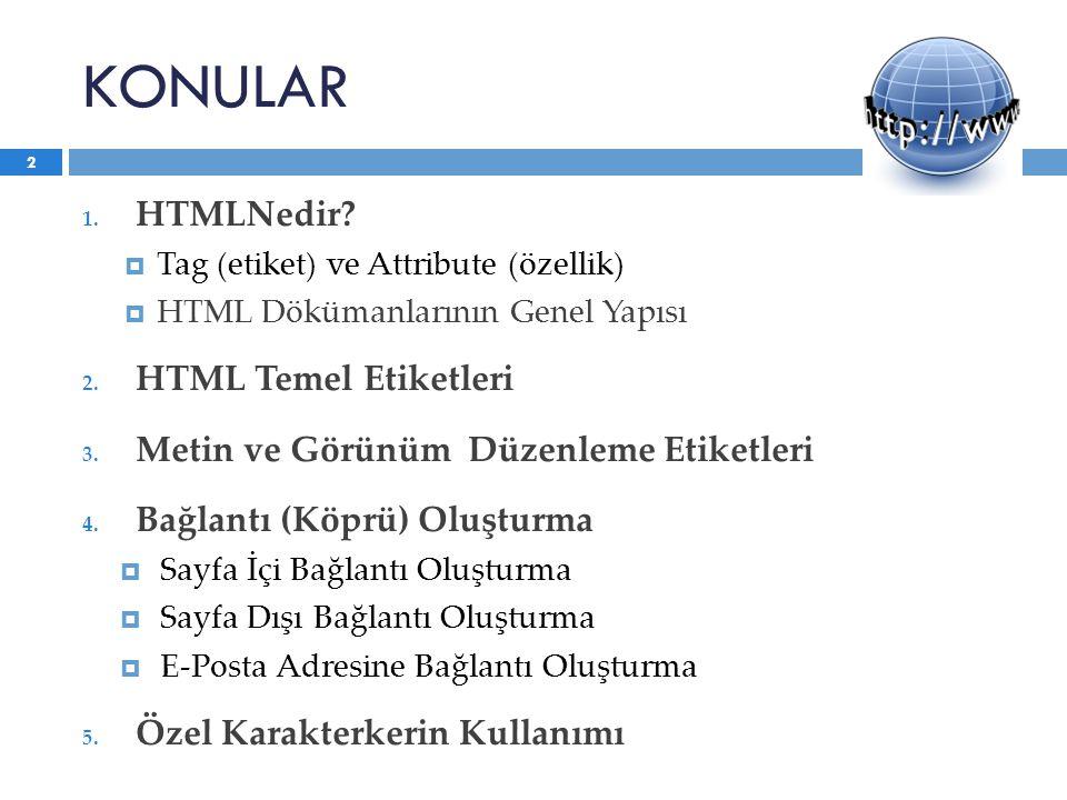 KONULAR HTMLNedir HTML Temel Etiketleri