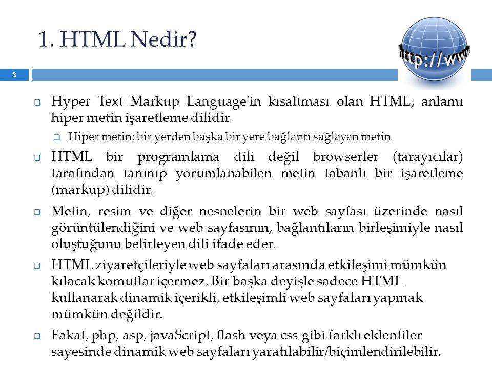 1. HTML Nedir Hyper Text Markup Language in kısaltması olan HTML; anlamı hiper metin işaretleme dilidir.