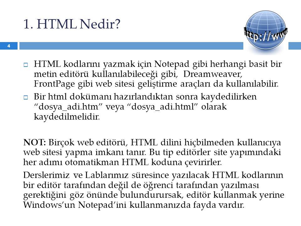 1. HTML Nedir